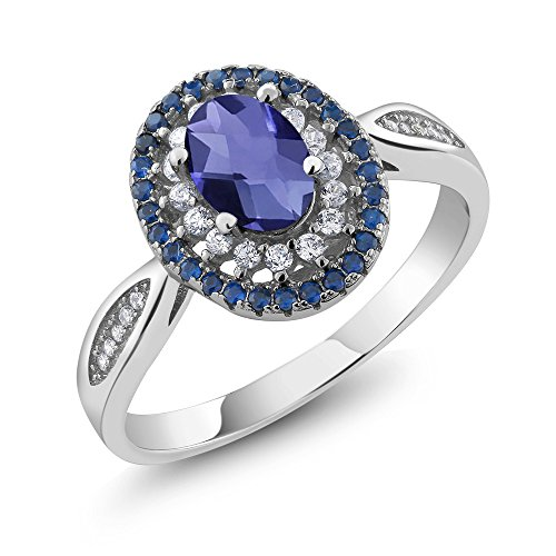 (Gem Stone King 1.25 Ct Oval Checkerboard Blue Iolite 925 Sterling Silver Women's Jewelry Ring (Size 9))