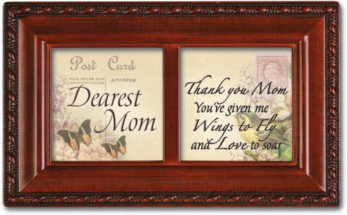 Cottage Garden Petite Music Box - Dearest Mom Plays Wind Beneath My Wings With Woodgrain Finish