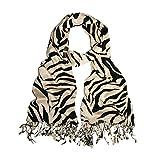TrendsBlue Elegant Zebra Animal Print Fringe Scarf - Diff Colors Avail