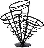 Winco WBKH-10 3-Cone Black Wire French Fryer Holder
