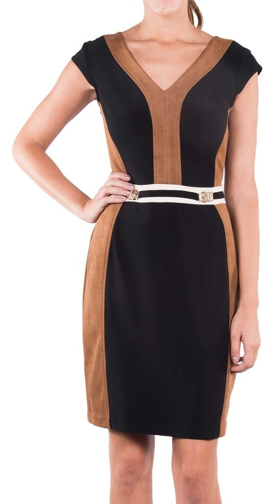 Joseph Ribkoff Black & Brown Faux Suede Belted Dress Style 164449 - Size 8 by Joseph Ribkoff