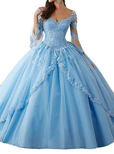 Annadress Women's Long Sleeve Lace Quinceanera Dresses Train V-Neck Ball Gown Blue US8