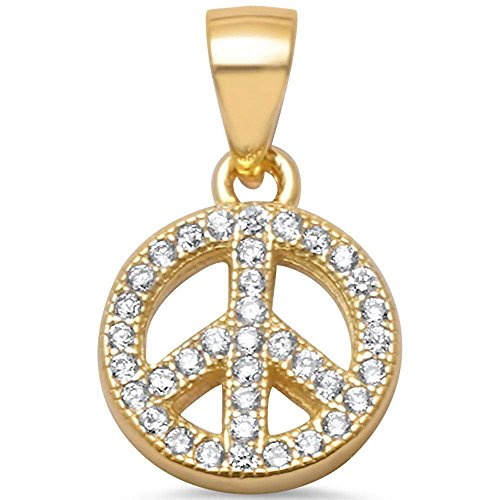 Yellow Gold Plated Micro Pave Cubic Zirconia Peace Sign .925 Sterling Silver Pendant (Peace Pendant Necklace)