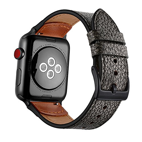 (Compatible with 2018 New Apple Watch Series, Rock Texture Leather Strap for iwatch Smart Watch Accessory Cuff Bracelet Stone Pattern Wrist Band (Black, 42mm, 44mm))