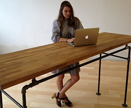 Standing Desk -- Black Steel Pipe and Wooden Butcher Block by Soil and Oak