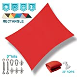 Coarbor 8'x12' Sun Shade Sail with Hardware Kit Rectangle Red UV Block Fabric Canopy Shade Cover Perfect for Patio Deck Yard Outdoor Garden