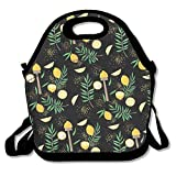 Dozili Lemon Pattern Handy Large & Thick Neoprene Lunch Bags Insulated Lunch Tote