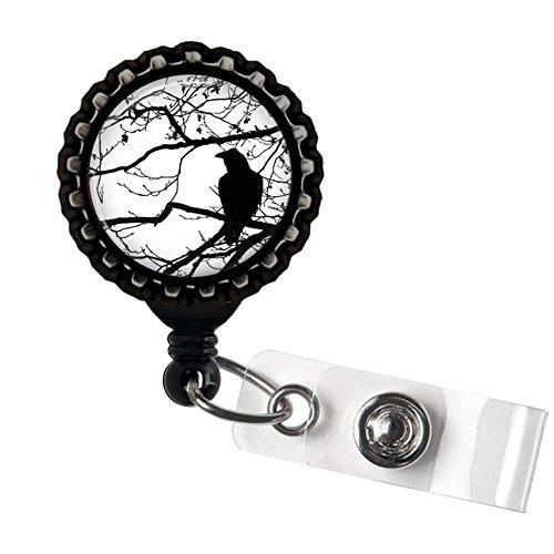 Crow and Tree Black Retractable ID Tag Badge Reel by Geek Badges