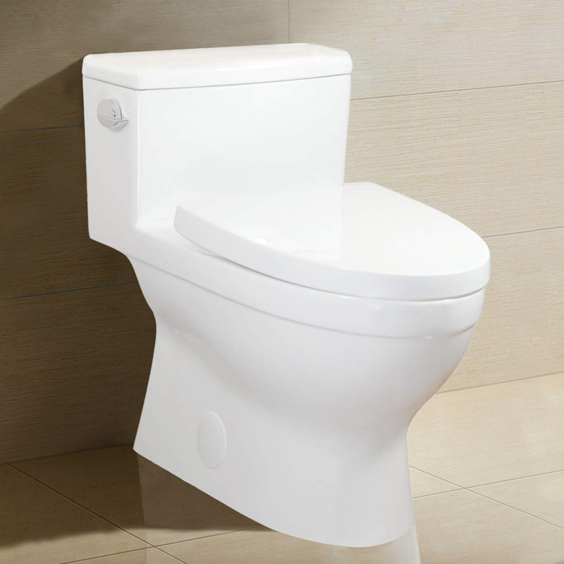 Winzo WZ5024 Elongated One-Piece Toilet, High Efficiency Single Side Flush 1.28 GPF,Comfort Height,Skirted Modern Design with Soft Closing Seat, WaterSense Porcelain White by WinZo