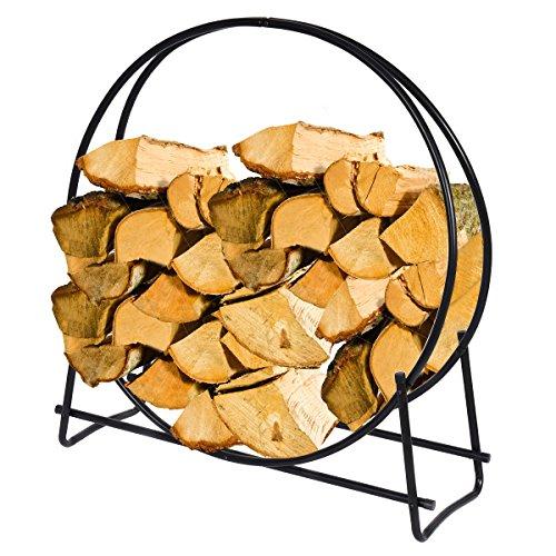 40 Inch Steel Log Hoop Firewood Storage Rack Holder Round