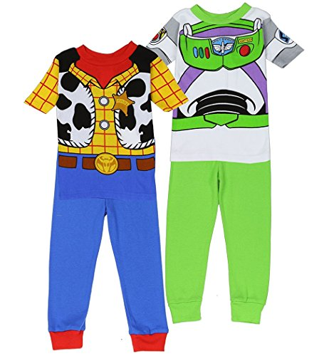 Disney Toy Story Buzz & Woody Little Boy 4 PC Short Sleeve Pajama Set (4T)