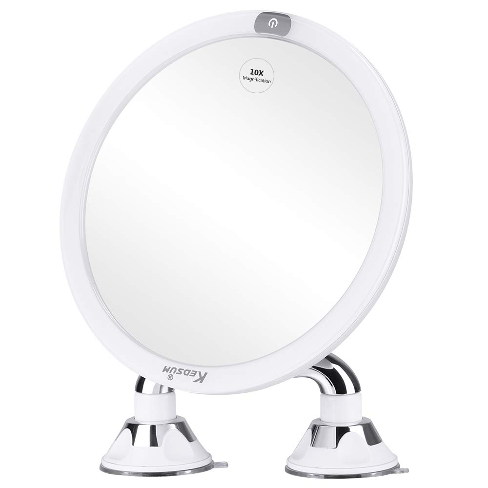 KEDSUM 9 Rechargeable 10x Magnifying Lighted Makeup Mirror with Dual Suction Cup, Dimmable Vanity Mirror with Touch Switch, Makeup Mirror with Light, 360° Rotation for Bathroom, Bedroom