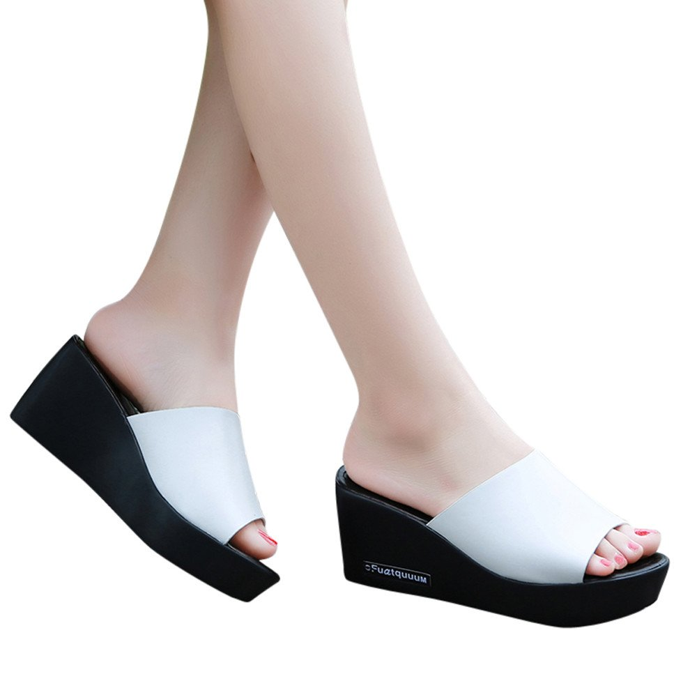 TnaIolral Women Slippers Fish Mouth Platform High Heels Summer Slope Sandals (US:6, White)
