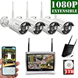 【2018 Update】12 inch Screen OOSSXX HD 1080P 8-Channel Wireless Security Camera System,4 pcs