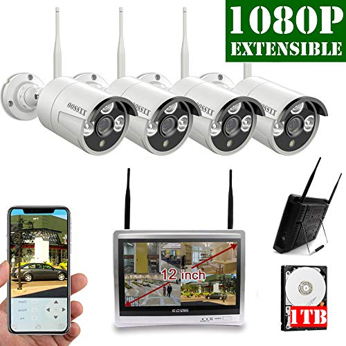 【2019 Update】12 inch Screen OOSSXX HD 1080P 8-Channel Wireless Security Camera System,4 pcs 1080P 2.0Megapixel Wireless Weatherproof Bullet IP Cameras,Plug and Play,70FT Night Vision,P2P,App, 1TB