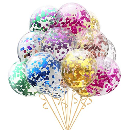 jiulonerst 1Pc 12/18/36 Inches Latex Round Balloons,Glitter Confetti Birthday Wedding Party Supplies Colorful New Year Eve Festival Decoration (Gold, 36 inches) ()