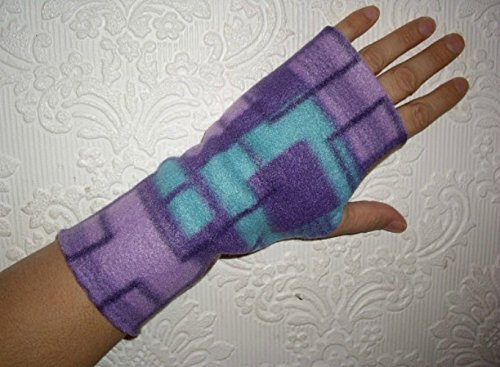 Fingerless Texting Gloves - Hand Warmers - Purple and Blue Fleece