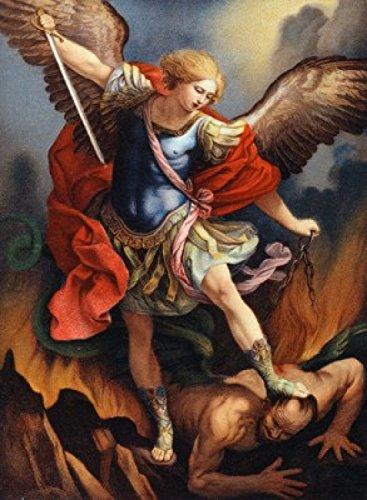 St. Michael Archangel Nostalgia Cards Color Lithograph Poster Print (18 x 24) 24 Lithograph