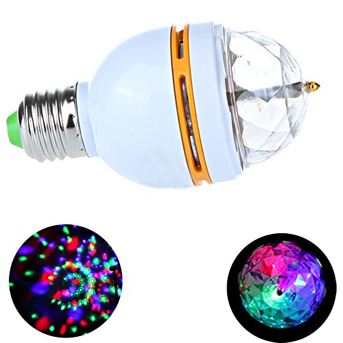 Zytree(TM)3W E27 Full Color LED Crystal Voice-activated Rotating Stage DJ Lamp Light Bulb Full Color Rotating Lamp Led StageLight