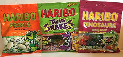 Haribo Creepy Crawler Combo! Gummy Frogs, Snakes, and Dinosaurs (14 Oz Total) ()