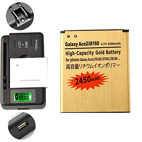 Gold Extended Samsung Galaxy Exhibit SGH-T599N High Capacity Battery EB425161LU + Universal Battery Charger With LED Indicator For Samsung Galaxy Exhibit SGH-T599N / Samsung Galaxy S3 Mini GT-I8190 / Samsung Galaxy Ace 2 GT-I8160 / Samsung Galaxy Exhibit SGH-T599 2450 mAh