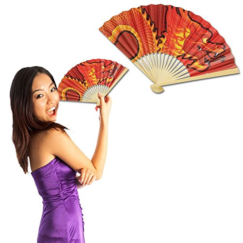 Chinese Dragon Fan - 12 Pack ()
