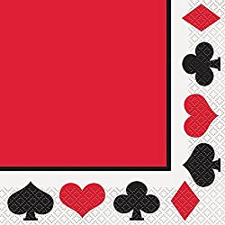 "4 Pack of 16 Poker Night Party 6.5"" x 6.5"" Luncheon Paper Napkins bundled by Maven Gifts"