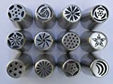 TK Housewares 12pc Stainless Steel Russian Piping Tips for Cake Decoration
