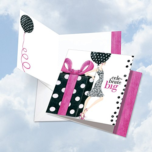 JQ5069BDG Jumbo Birthday Square-Top Card: Celebrate Big Featuring A Giant Gift For Someone On Their Birthday, with Envelope (Extra Large Size: 8.25