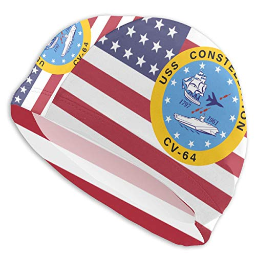 - USS Constellation CV-64 Aircraft Carrier Insignia Short Hair Adult Swim Cap Youth Teen Swimming Hat