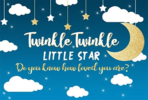 AOFOTO 5x3ft Twinkle Twinkle Little Star Background Clouds Moon Photography Backdrop Sweet Infant Birthday Party Decoration Banner Celebration Baby Shower Photo Studio Props Newborn Portrait Wallpaper