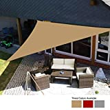 Yeahmart Sun Shade Sail Waterproof Outdoor Garden Patio Party Sunscreen Awing 3x3x3m Triangle Canopy 98% UV Block with Free Rope (Sand)