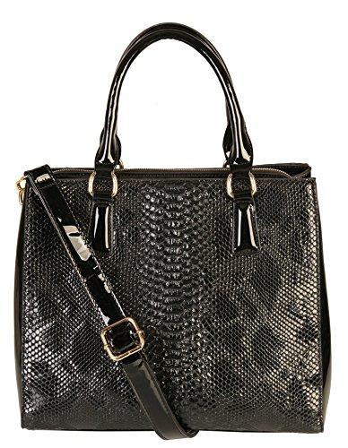 rimen-co-shiny-patent-pu-leather-crocodile-texture-large-tote-womens-purse-handbag-sw-2821-black
