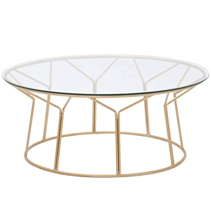 Round Wrought Iron Coffee Table Metal Frame Tempered Glass Table