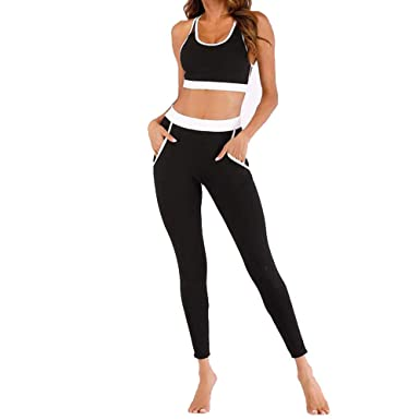 Traje de Ropa de Yoga para Mujer, Traje de Costura de Color ...