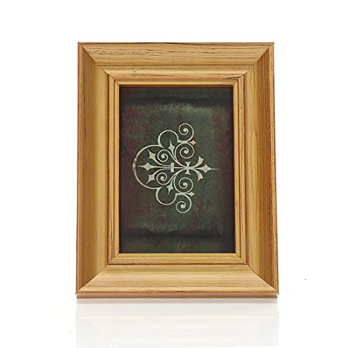 4x6 Inches Rectangular Solid Wood Desktop Picture Frame with Glass Front (4x6 Golden) (Gold Frame Magnet)