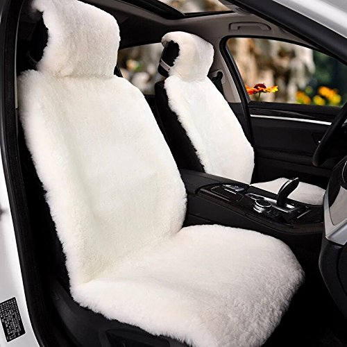 IMQOQ A Pair Genuine Sheepskin Short Wool Car 2 Front Seat Covers Set Winter Warm Universal White