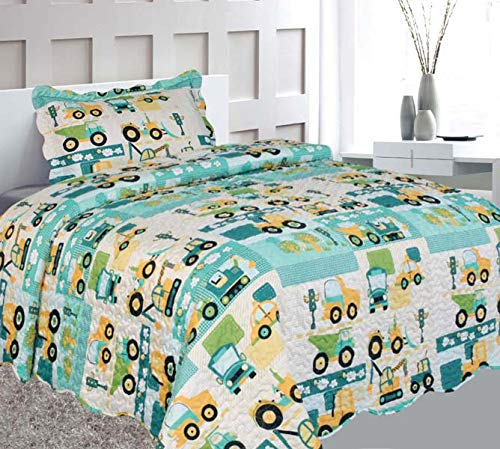 Elegant Home Green Beige Yellow Teal Trucks Tractors Cars Construction Site Design 2 Piece Coverlet Bedspread Quilt Kids Teens Boys Twin Size # Car (Twin Size) by Elegant Home Decor