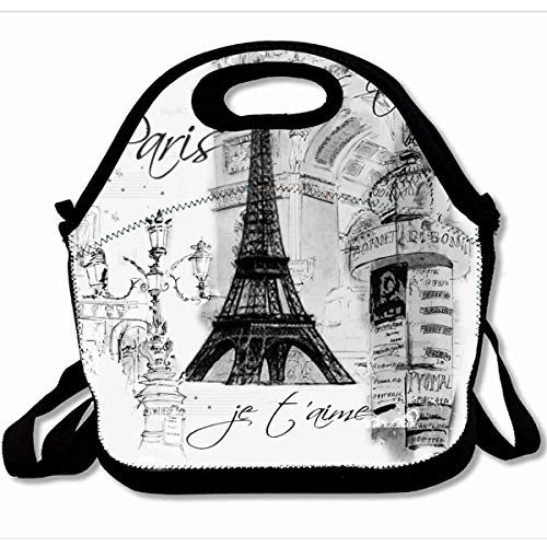Ahawoso Reusable Insulated Lunch Tote Bag Vintage French Paris Eiffel Tower Collage Black Painting 10X11 Zippered Neoprene School Picnic Gourmet Lunchbox