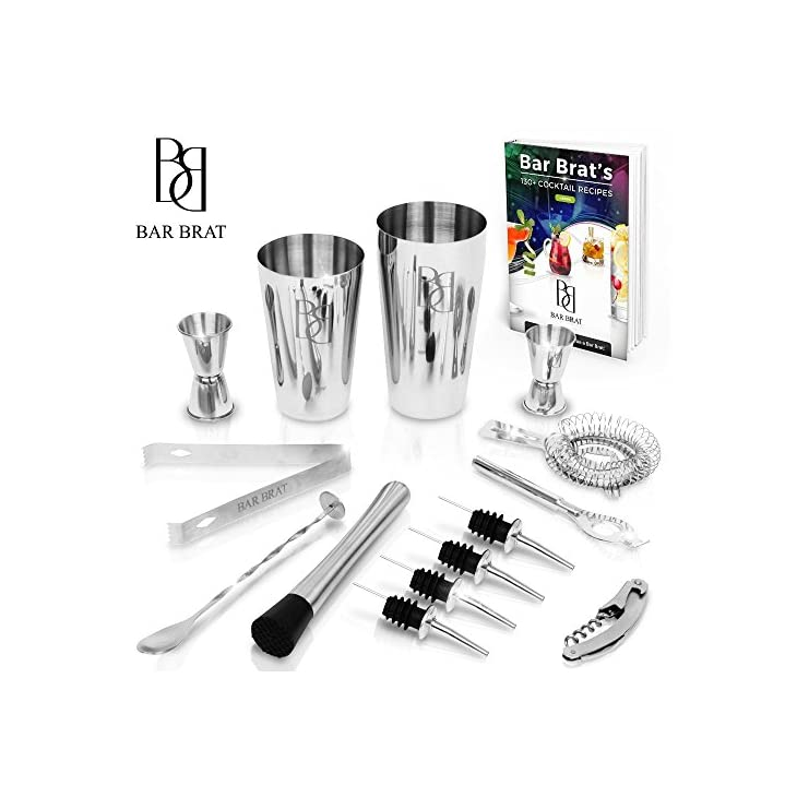 Premium 14 Piece Cocktail Making Set & Bar Kit by Bar Brat