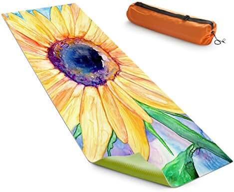 DiaNoche Designs Yoga Mats by Brazen Design Studio Sunflower, 24 x 72 Standard