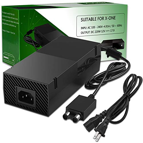 Xbox One Power Supply Brick,UKor Xbox 1 AC Adapter Power Cord Replacement Charger for Microsoft Xbox one 100-240V, Black