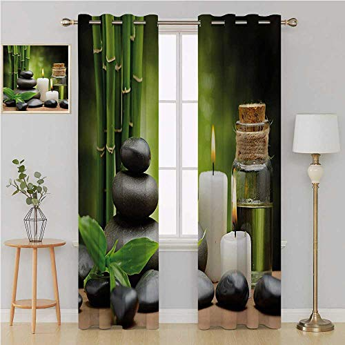 Benmo House Spa Gromit Curtains Grommet Patio Door Curtain PanelHot Massage Rocks Combined with Candles and Scents Landscape of Bamboo Printdoorway Curtain 120 by 84 InchGreen White and Black