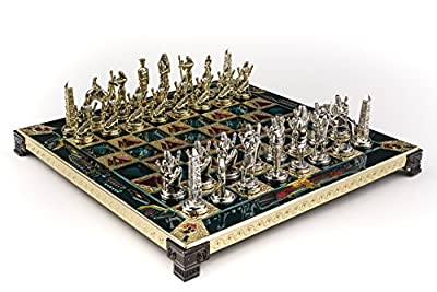 Marinakis Handmade Egyptian Metal Chess Set In Wooden Box