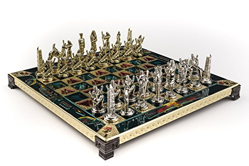 Egyptian Chess - Marinakis Handmade Egyptian Metal Chess Set In Wooden Box