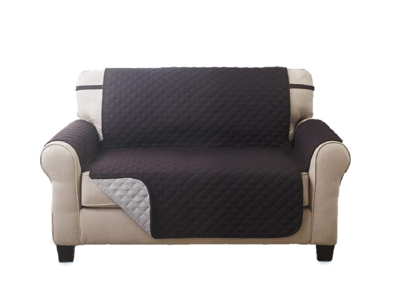 Elegante Luxurious Reversible LOVESEAT Furniture Protector, Black / Grey 75x88 Sara Ashley SYNCHKG060523