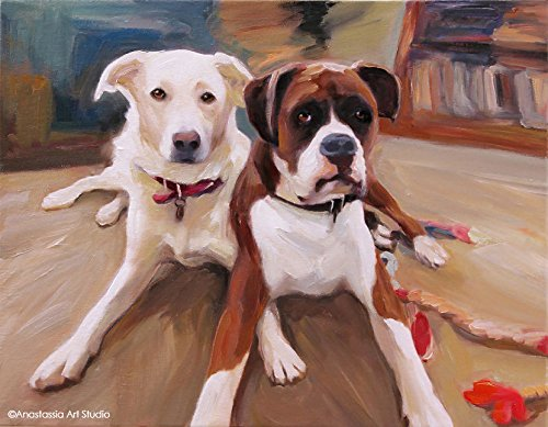Custom Dog Portrait From Photo - Personalized Fine Art Oil Painting - Hand Painted