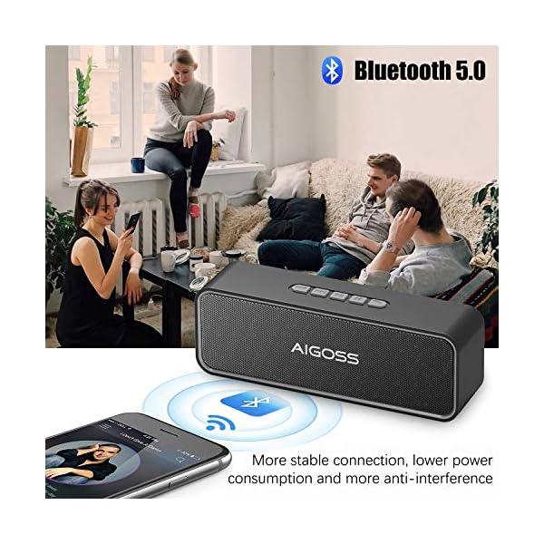 Aigoss Enceinte Bluetooth Portable, Haut-Parleur Bluetooth 5.0 Enceinte Portable Pilote Double Subwoofer Son HD Stéréo Mains Libres, Radio FM Fonction TF Carte Noir 2