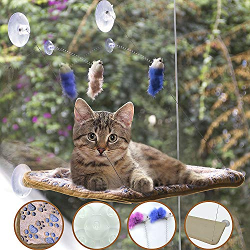 BEROVE Pet Cat Hammock Window Perch Set with Blanket and Interactive Feather Cat Toys, Big Cat Hammock Bed Sunny Seat, Durable Steady Cat Shelf for Kitten