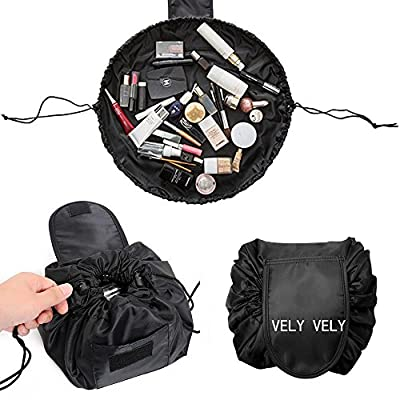 Lazy Cosmetic Bag with Drawstring & Brush Holder Large Capacity Makeup Toiletry Bag Portable Storage Quick Pack Waterproof Travel Case for Women Black